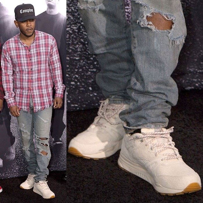 Kendrick Lamar wearing his own Kendrick Lamar x Reebok 'Ventilator' sneakers.