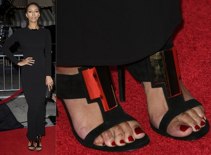 Keri Hilson showing off her hammertoes at the premiere of 'Riddick' at the Regency Village Theater in Los Angeles on August 28, 2013