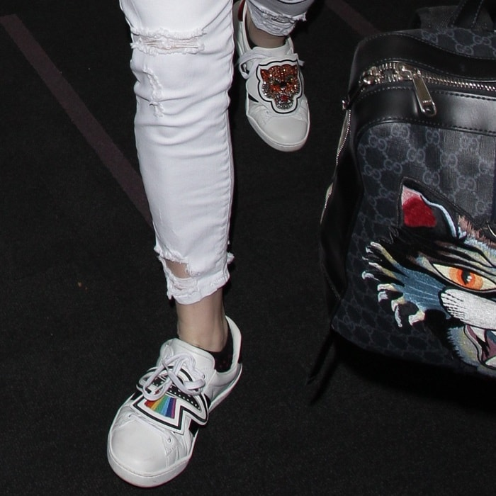 5f5b2c730a0 Kesha wearing 'Ace' sneakers with removable patches
