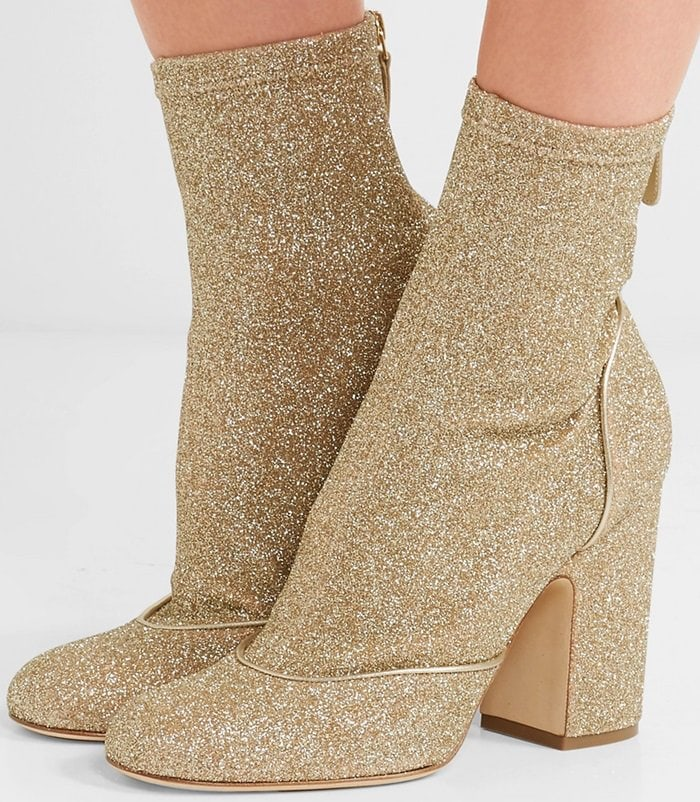 Laurence Dacade 'Melody' Metallic Stretch-Knit Boots