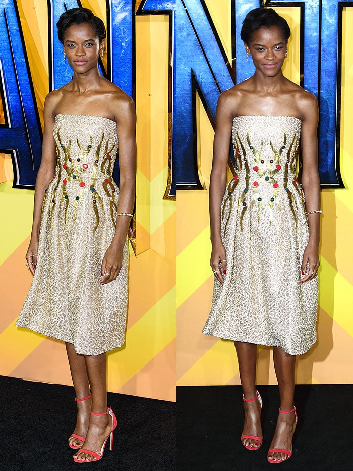 Letitia Wright wearing a Rami Al Ali Fall 2017 strapless dress with Ade Samuel 'Sophia' sandals.