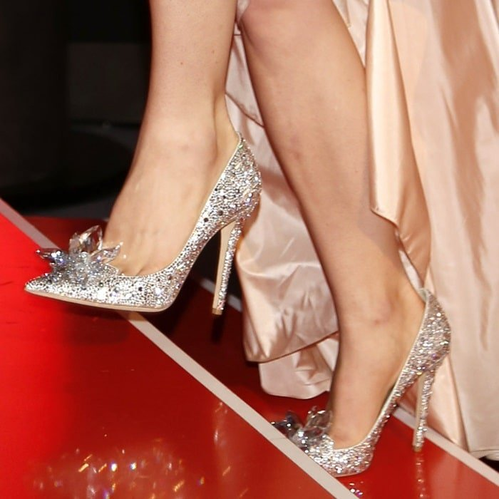 83e2e9ab7 Who could forget the 'Cinderella' shoes from Jimmy Choo that Lily James  wore to
