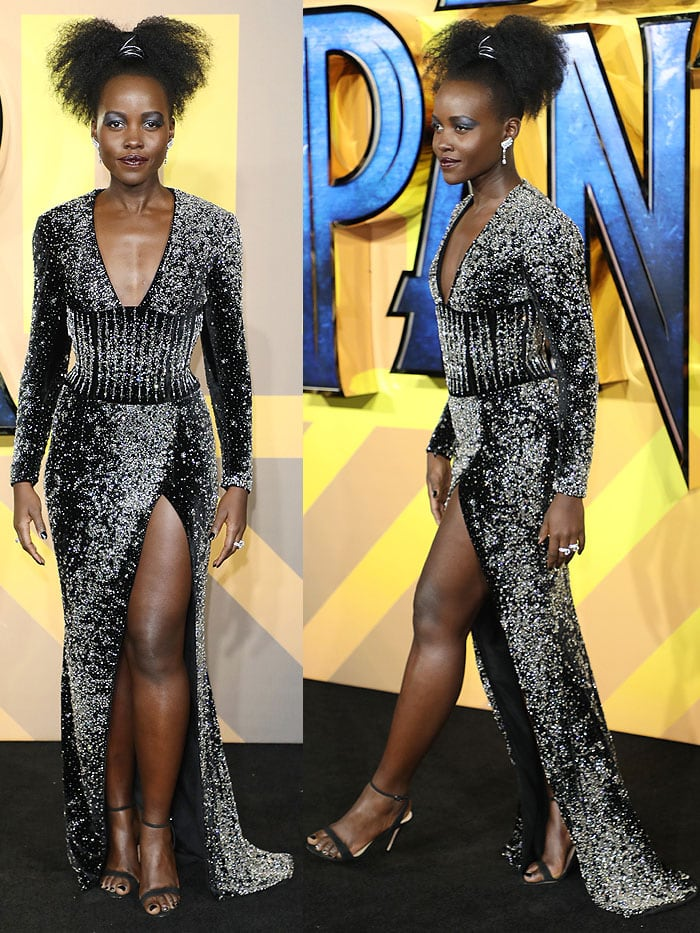 """Lupita Nyong'o at the European premiere of """"Black Panther"""" heldat Eventim Apollo in London, England, on February 8, 2018."""