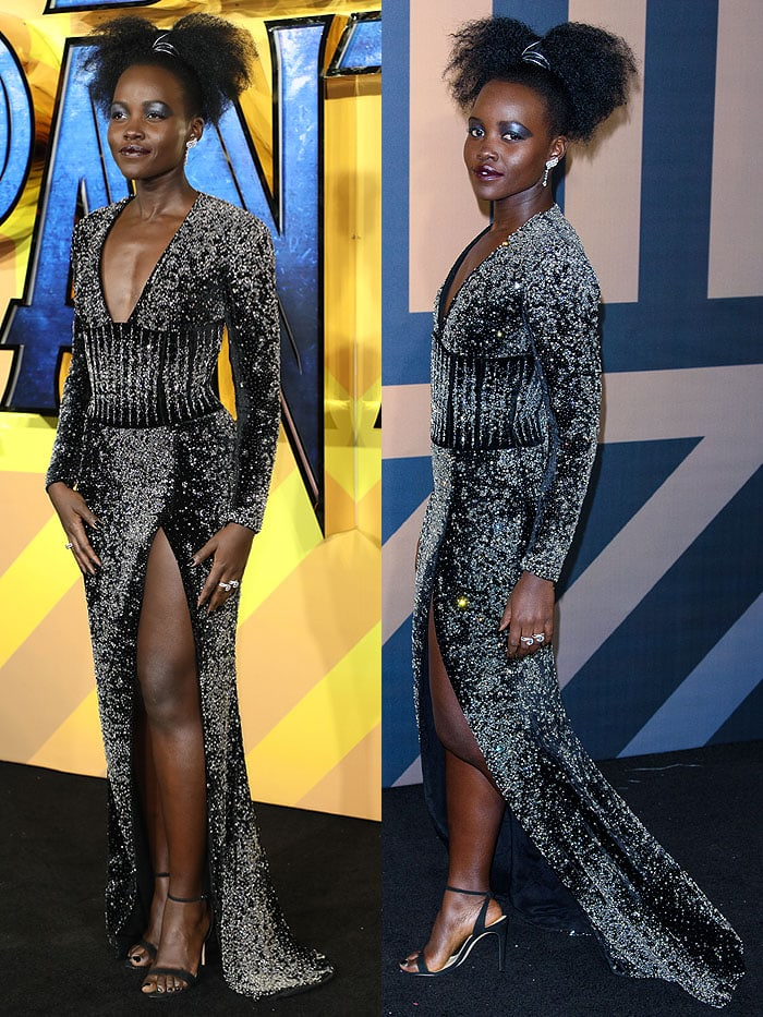 "Lupita Nyong'o in a Balmain embellished long-sleeve gown with Alexandre Birman ankle-strap sandals and De Beers ""Phenomena Glacier"" earrings"