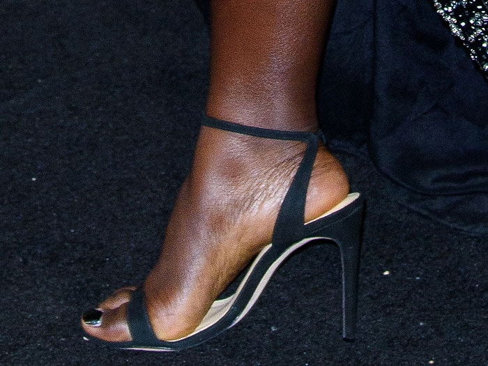 Lupita Nyong'o's feet in custom Alexandre Birman suede ankle-strap sandals
