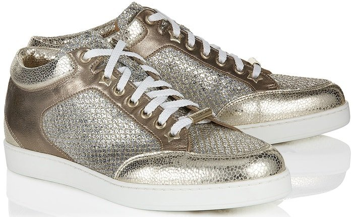 The Miami sneaker in champagne features eye-catching glitter fabric and metallic nappa leather sections and boasts a padded ankle for a consciously comfortable fit