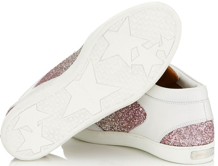 The Miami sneaker in platinum and flamingo ice dégradé glitter fabric is both comfortable and stylish