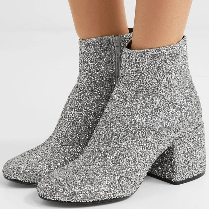 These disco-inspired ankle boots by MM6 Maison Margiela are made from silver leather that's encrusted with sparkly beads for maximum shine