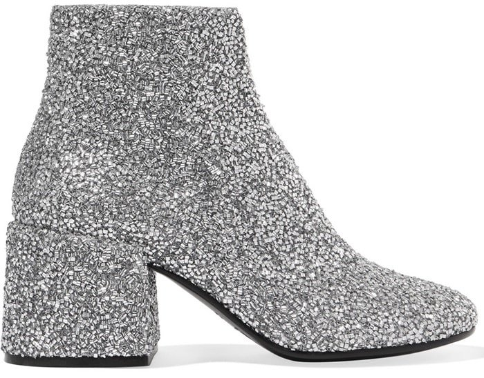MM6 Maison Margiela Bead-embellished leather ankle boots