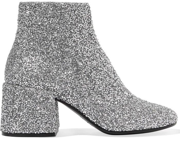 MM6 Maison Margiela Bead-embellished leather ankle boots