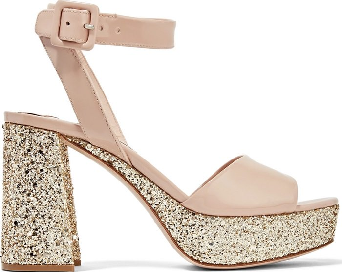 Miu Miu Glittered patent-leather platform sandals