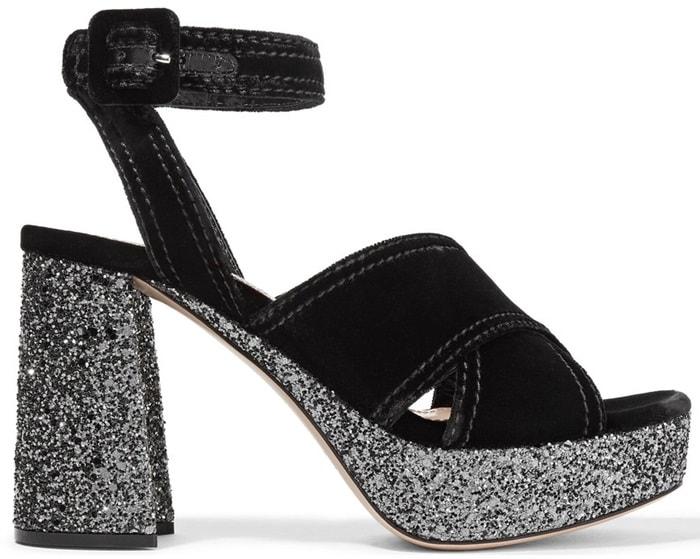 Miu Miu Glittered Velvet Platform Sandals