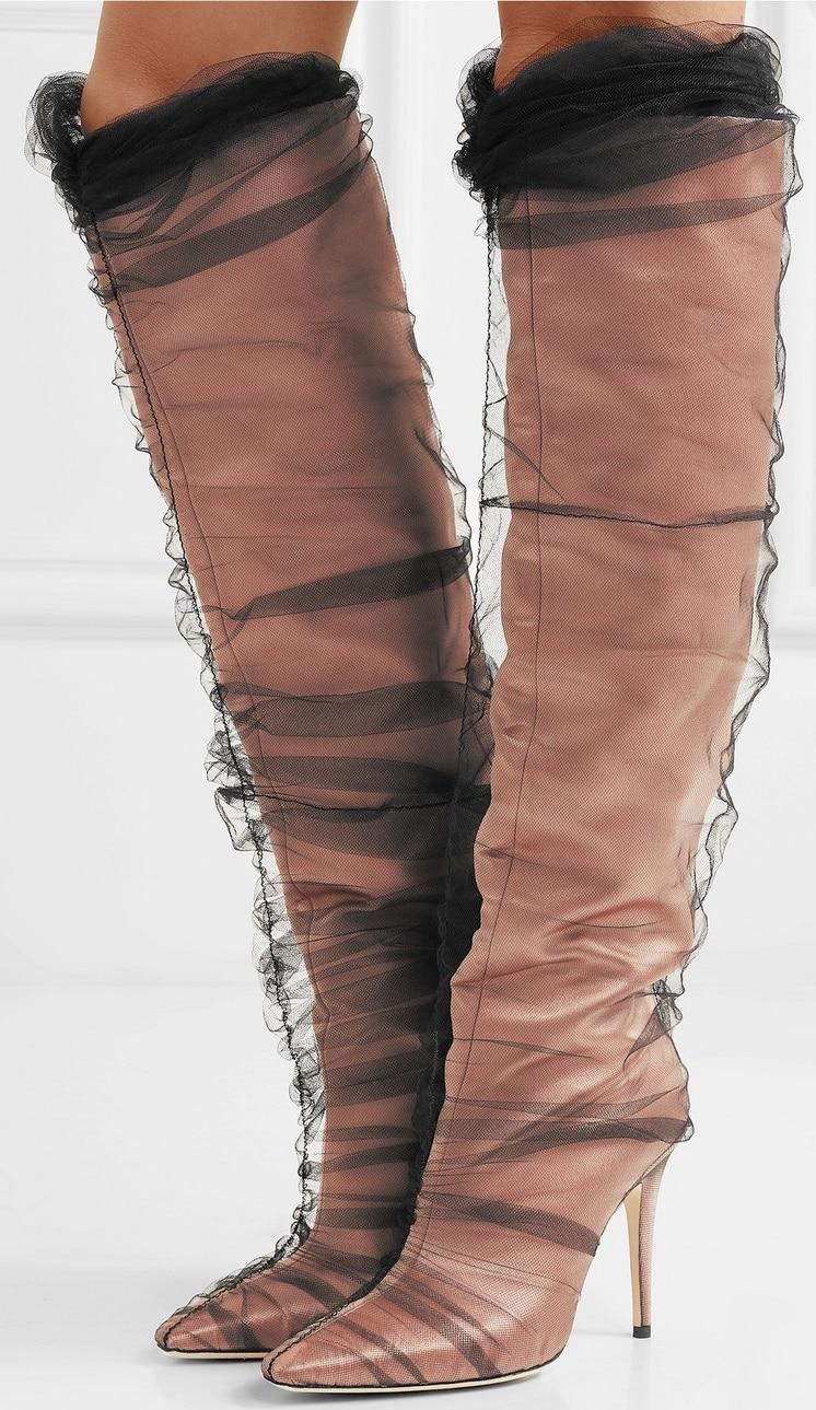 Nude satin 'Elisabeth' 100 PVC-wrapped satin knee boots