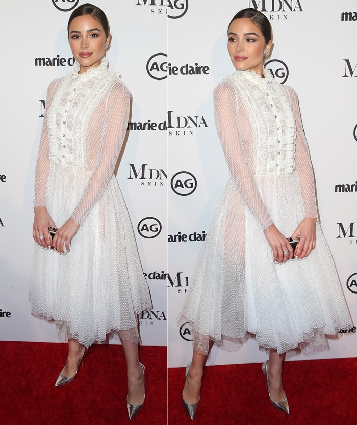 Olivia Culpo wearing a Philosophy Di Lorenzo Serafini Fall 2017 dress at the 2018 Marie Claire Image Makers Awards in West Hollywood on January 11, 2018