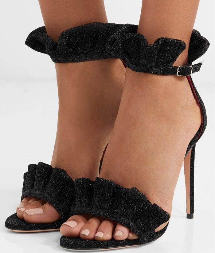 Oscar Tiye 'Antoinette' Ruffled Lurex Sandals