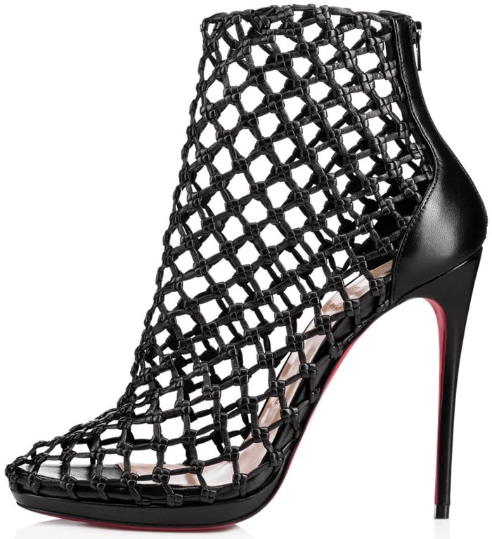 12d3a31b06a Porligat Woven-Leather Caged Red Sole Booties by Christian Louboutin