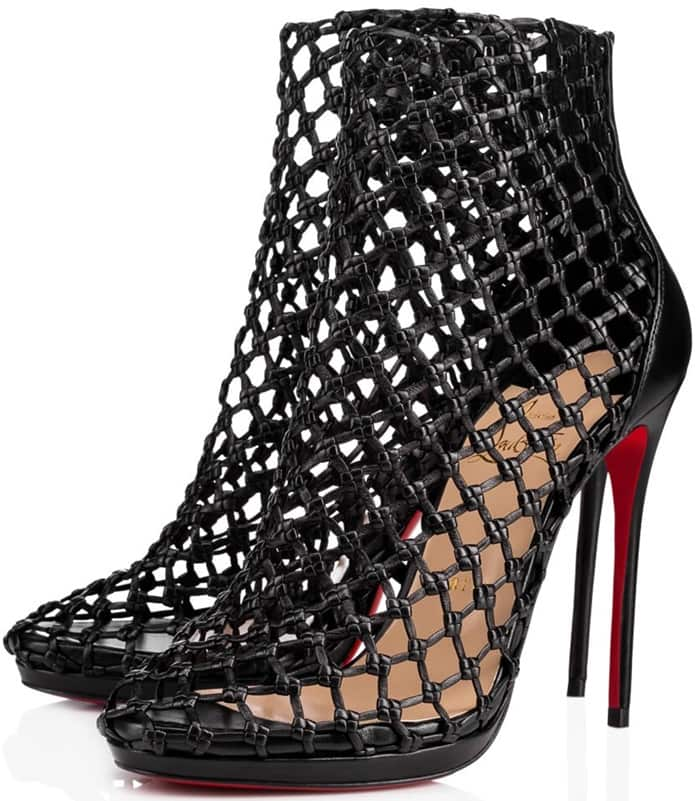 'Porligat' Caged Red Sole Booties in Black