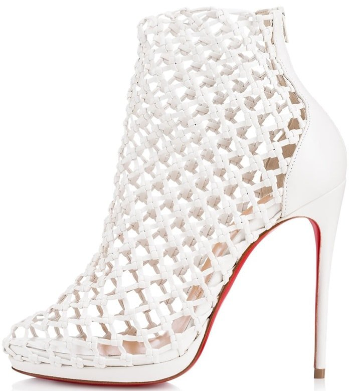 'Porligat' Caged Red Sole Booties in Latte