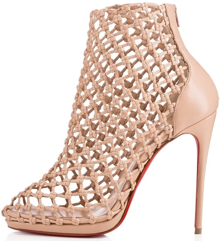 'Porligat' Caged Red Sole Booties in Nude