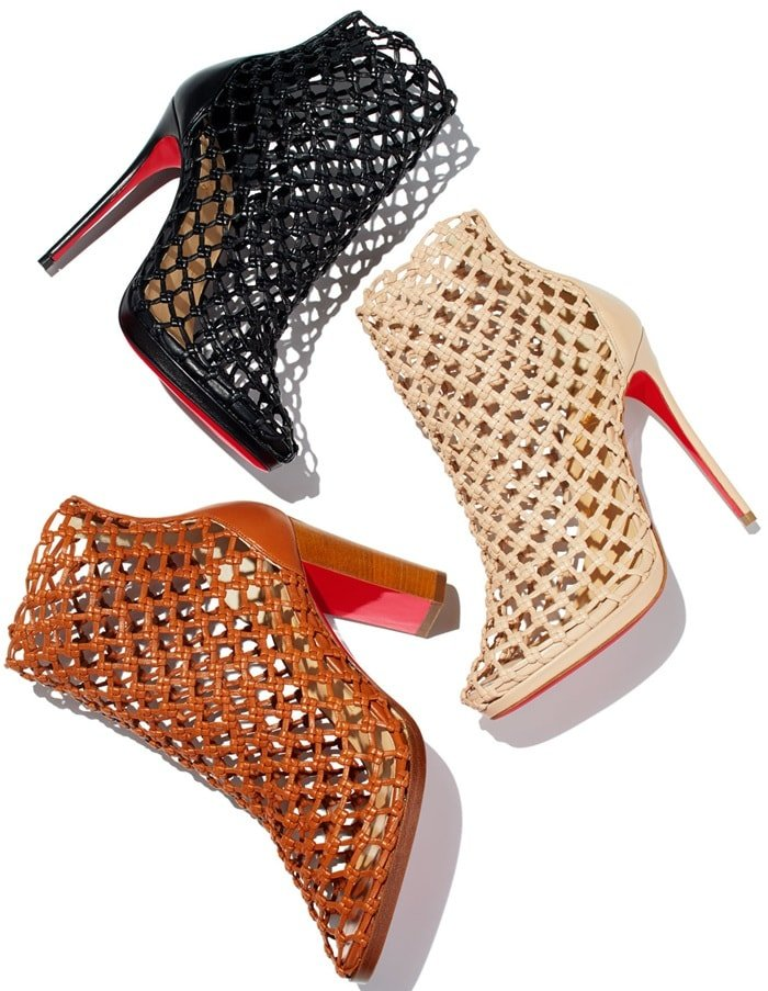 969da19687b Porligat Woven-Leather Caged Red Sole Booties by Christian Louboutin