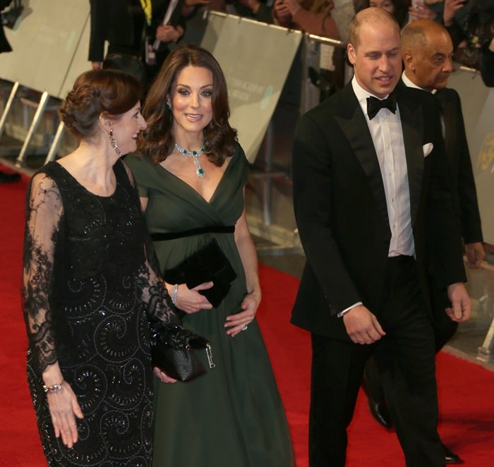Catherine, Duchess of Cambridge (aka Kate Middleton) and her husband Prince William arriving at the2018 EE British Academy Film Awards (BAFTAs) held at Royal Albert Hall in London, England, on February 18, 2018