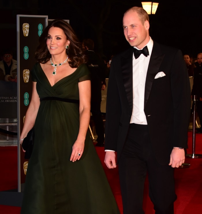 Catherine, Duchess of Cambridge (aka Kate Middleton) and her husband Prince William arriving at the 2018 EE British Academy Film Awards (BAFTAs) held at Royal Albert Hall in London, England, on February 18, 2018