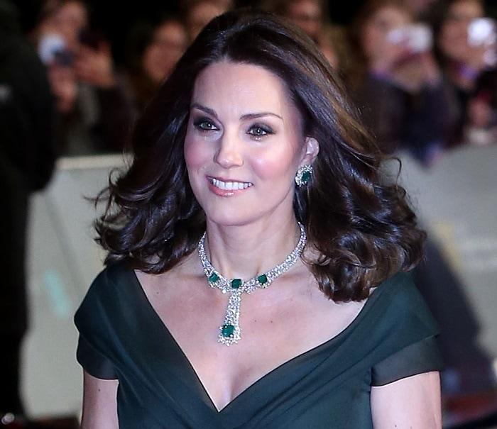 Kate Middleton wearing an off-the-shoulder Jenny Packham dress