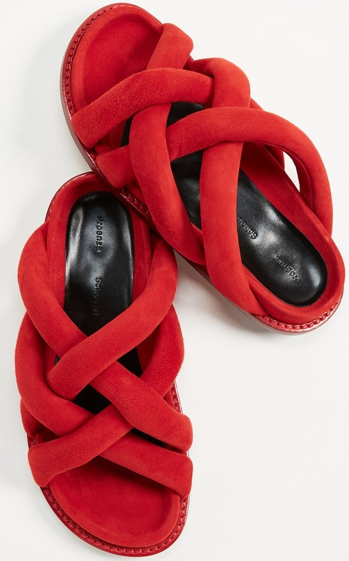 Pretzel Crossover Sandals in Red