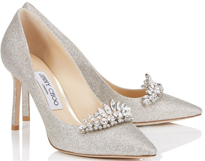 'Romy' 85 Platinum Ice Dusty Glitter Pointy Toe Pumps with Crystal Tiara