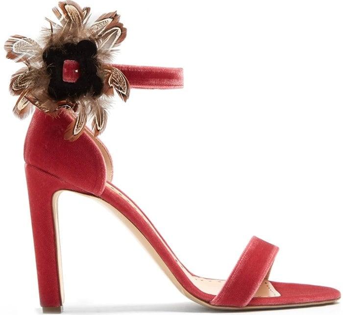 RUPERT SANDERSON Nymphea feather-trimmed velvet sandal