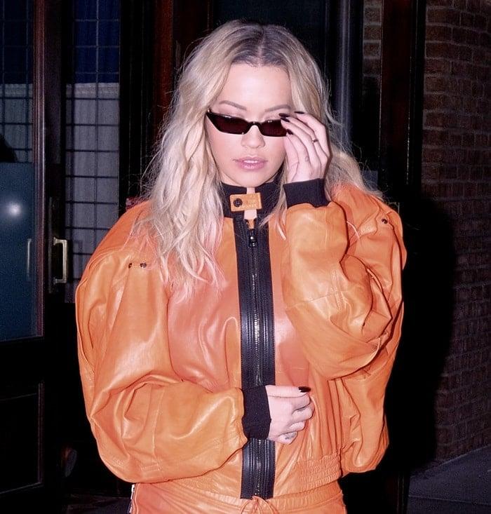 Rita Ora wearing 'Le Skinny' sunglasses by Poppy Lissiman
