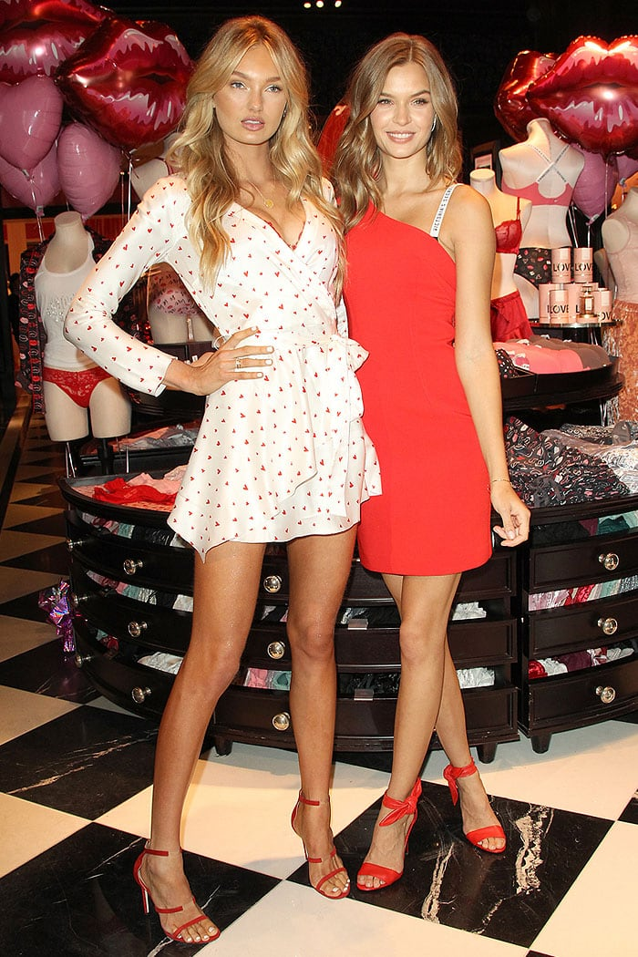 Romee Strijd and Josephine Skriver modeling for the cameras with the new Victoria's Secret Dream Angels and Very Sexy collections behind them.