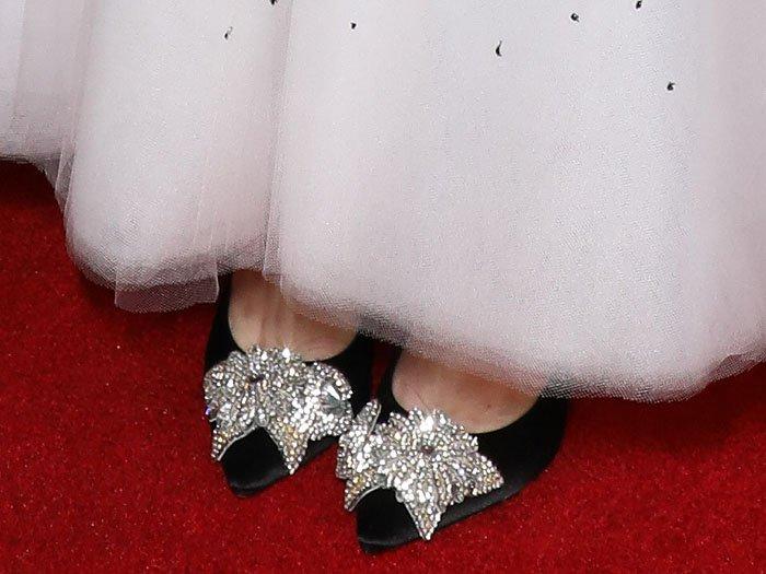 Sophia Webster 'Lilico' crystal-flower-embellished black satin pumps on Rose Byrne.