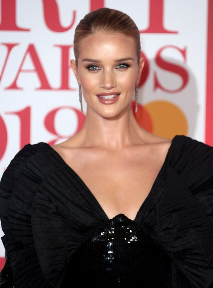 Rosie Huntington-Whiteley wearing a Saint Laurent dress at the 2018 BRIT Awards held at The O2 Arena in London, England, on February 21, 2018