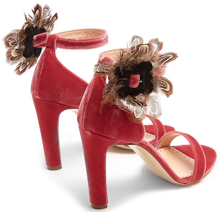 Rupert Sanderson 'Nymphea' Feather-Trimmed Velvet Sandals