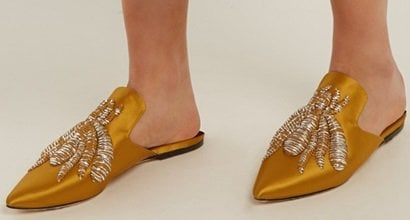 0c45be3bbb8 Chicken Feet Shoes  Sanayi 313  Ragno  Embroidered Satin Slippers