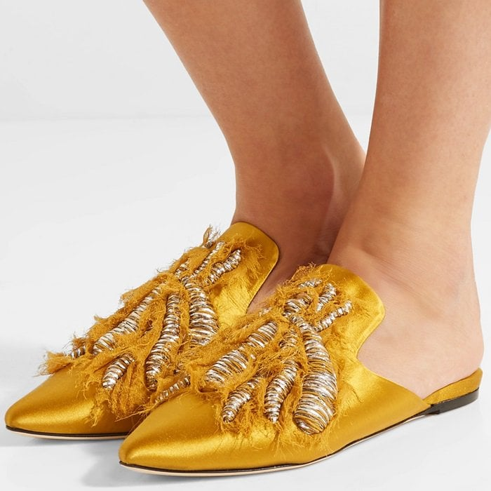 Sanayi 313 'Ragno' embroidered satin slippers