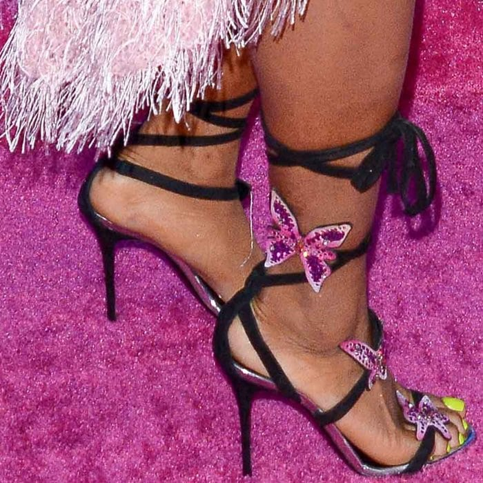 ZSA shows off her sexy feet in Swarovski crystal butterfly sandals