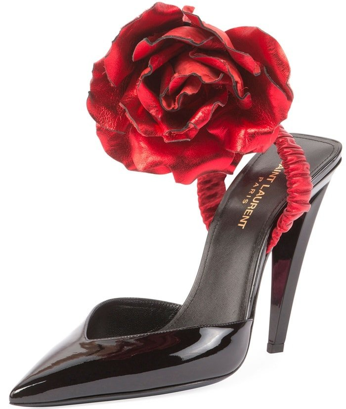 Saint Laurent Patent Slingback Pump Rose Flower