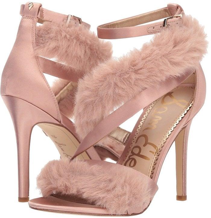 Crystal Pink 'Adelle' Faux Fur Heeled Sandals