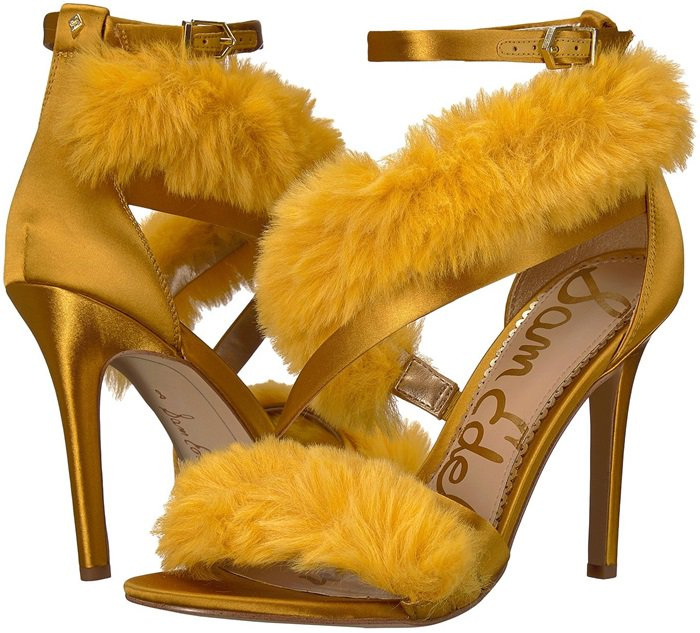 Tuscan Yellow 'Adelle' Faux Fur Heeled Sandals