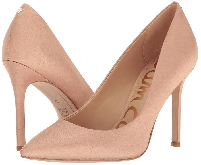 Sam Edelman 'Hazel' pumps in nude silk dupioni fabric.