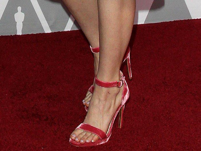 Saoirse Ronan's sexy feet in Rupert Sanderson Myril Plato pink-velvet ankle-strap sandals