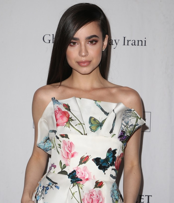 Sofia Carson in a strapless floral gown from Monique Lhuillier's Spring 2018 collection at the 2018 Los Angeles Ballet Gala at the Beverly Wilshire Four Seasons Hotel in Beverly Hills, California, on February 24, 2018