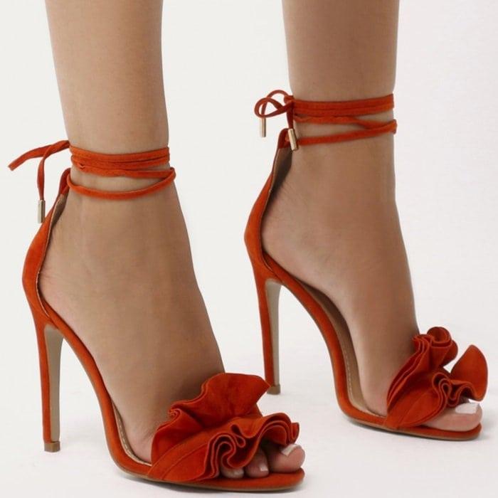 Ruffle Sandal Heels in Orange