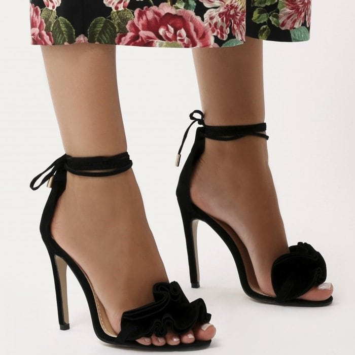 Ruffle Sandal Heels in Black