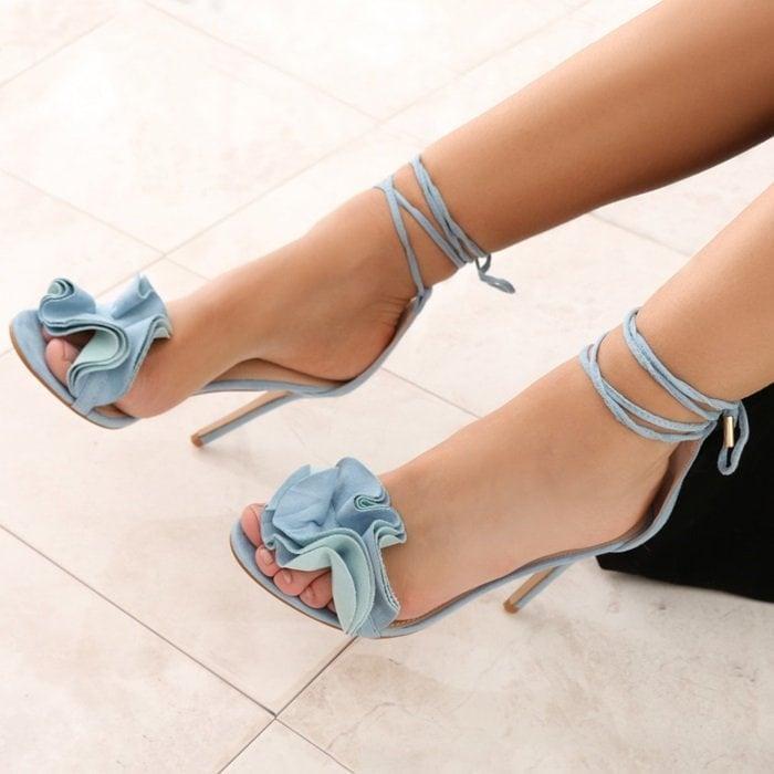Ruffle Sandal Heels in Blue