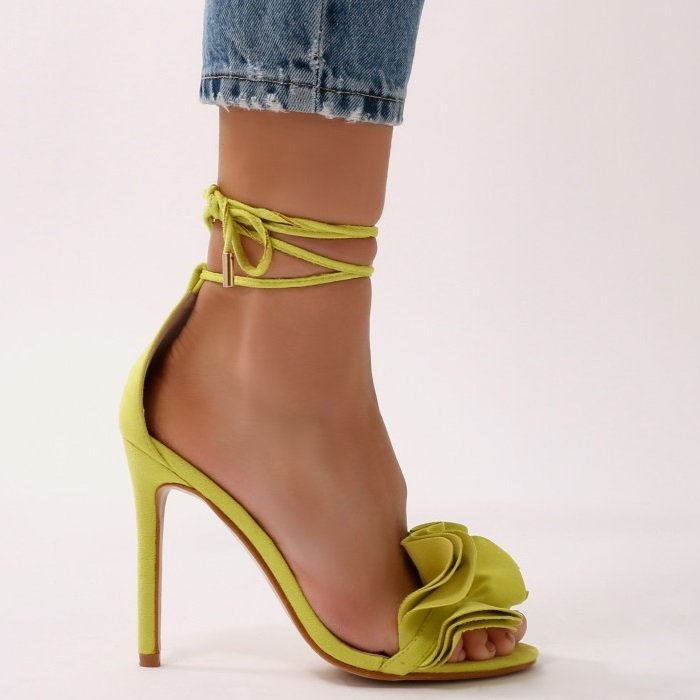 Ruffle Sandal Heels in Lime