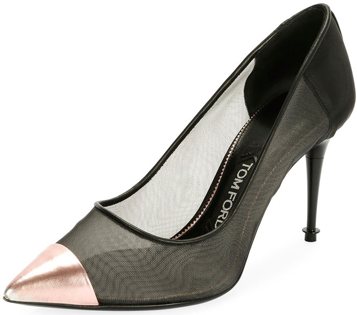 Tom Ford Pointed Mixed Mesh 85mm Pump