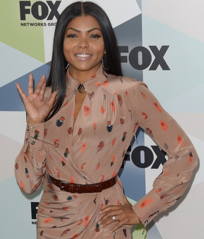 Taraji P. Henson shows off her engagement ring while attending the 2018 Fox Upfronts at Central Park's Wollman Rink in New York City on May 14, 2018